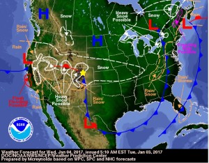 Wednesday, January 4, 2017 forecast map. The gold star marks Nederland's location.