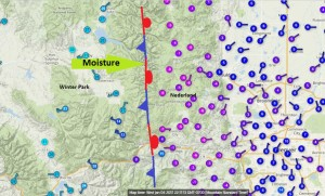 January 4, 2017 Front Range Temperature Map, 10:30 PM MST