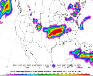 Probability of Liquid Precipitation > 1 Inch from Midday Thursday through Saturday