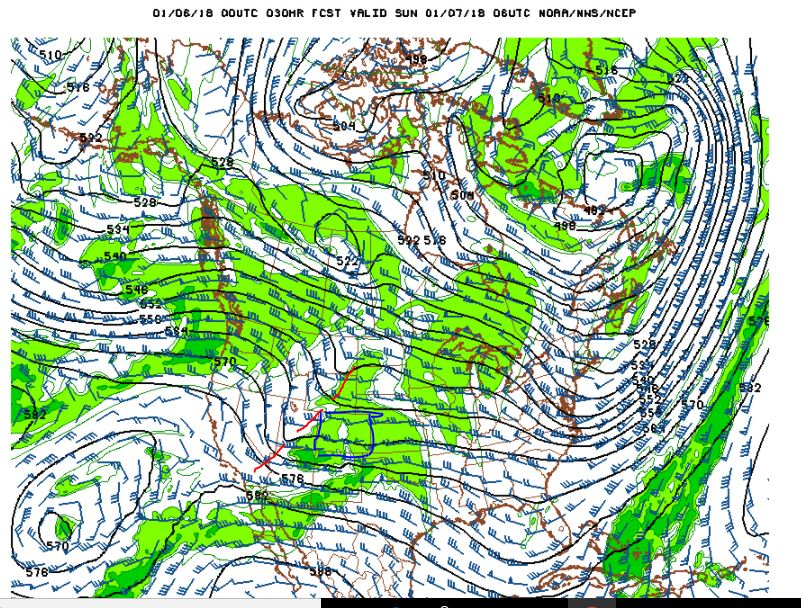 500 mb Winds and Humidity at midnght Saturday