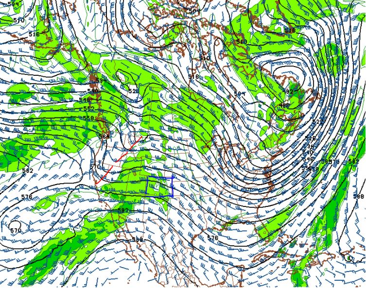 500 mb Winds and Humidity on Noon Saturday