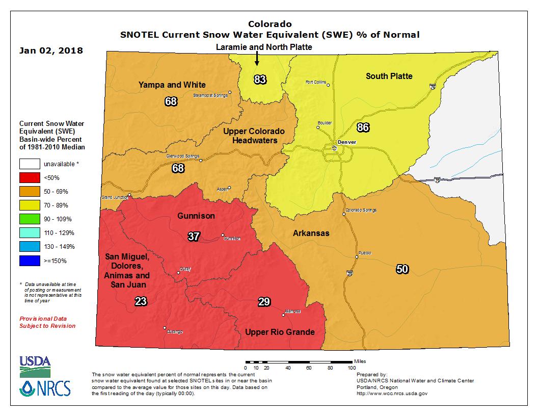 Colorado snowpack as a percent of normal per major river basin
