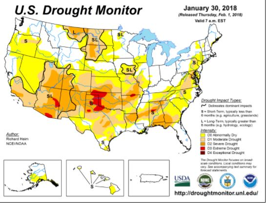 January 30, 2018 Drought Monitor
